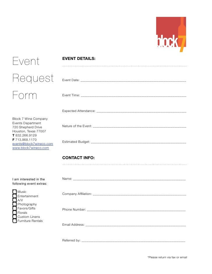 Event                     EVENT DETAILS:     Request                   Event Date: _______________________________________...