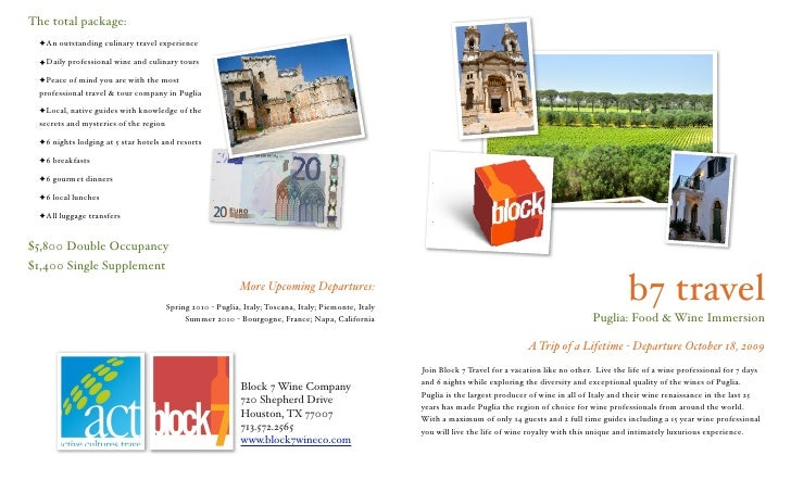 The total package:   ✦An outstanding culinary travel experience    ✦Daily professional wine and culinary tours    ✦Peace o...
