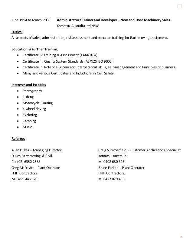 plant operator  u0026 trainer resume jan 2016