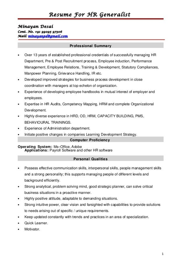 PreviousNext. Previous Image Next Image. Sample Resume Of Hr Generalist  Best Templates