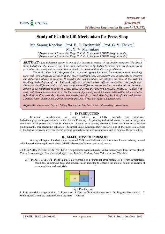International OPEN  Journal  ACCESS  Of Modern Engineering Research (IJMER)  Study of Flexible Lift Mechanism for Press Sh...