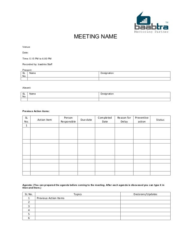 Baabtra MOM Minutes of Meeting  template PUX8pASm