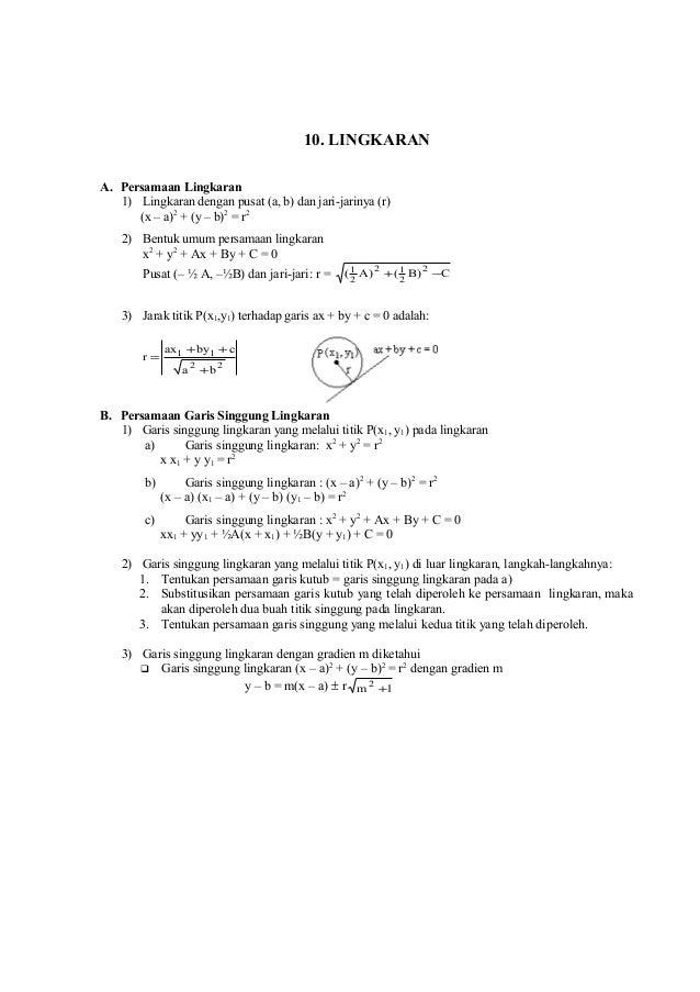 10. LINGKARAN A. Persamaan Lingkaran 1) Lingkaran dengan pusat (a, b) dan jari-jarinya (r) (x – a)2 + (y – b)2 = r2 2) Ben...
