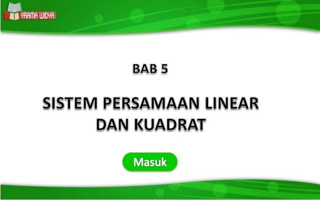 Bab 5 Sistem Persamaan Linear Dan Kuadrat