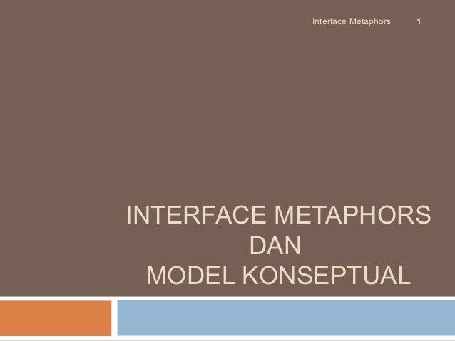 Interface Metaphors   1INTERFACE METAPHORS        DAN  MODEL KONSEPTUAL