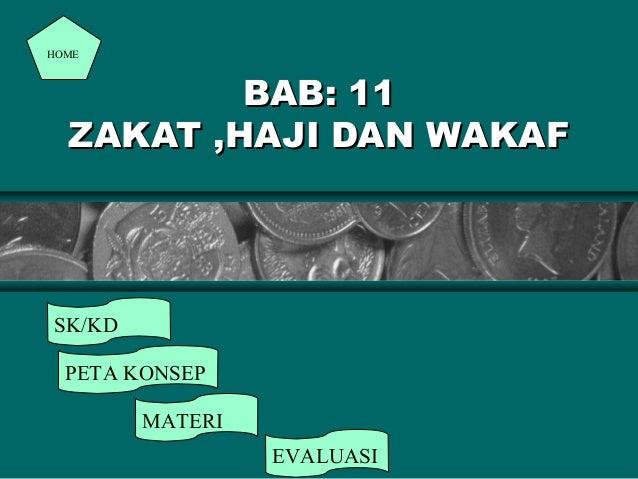 HOME  BAB: 11 ZAKAT ,HAJI DAN WAKAF  SK/KD PETA KONSEP MATERI EVALUASI