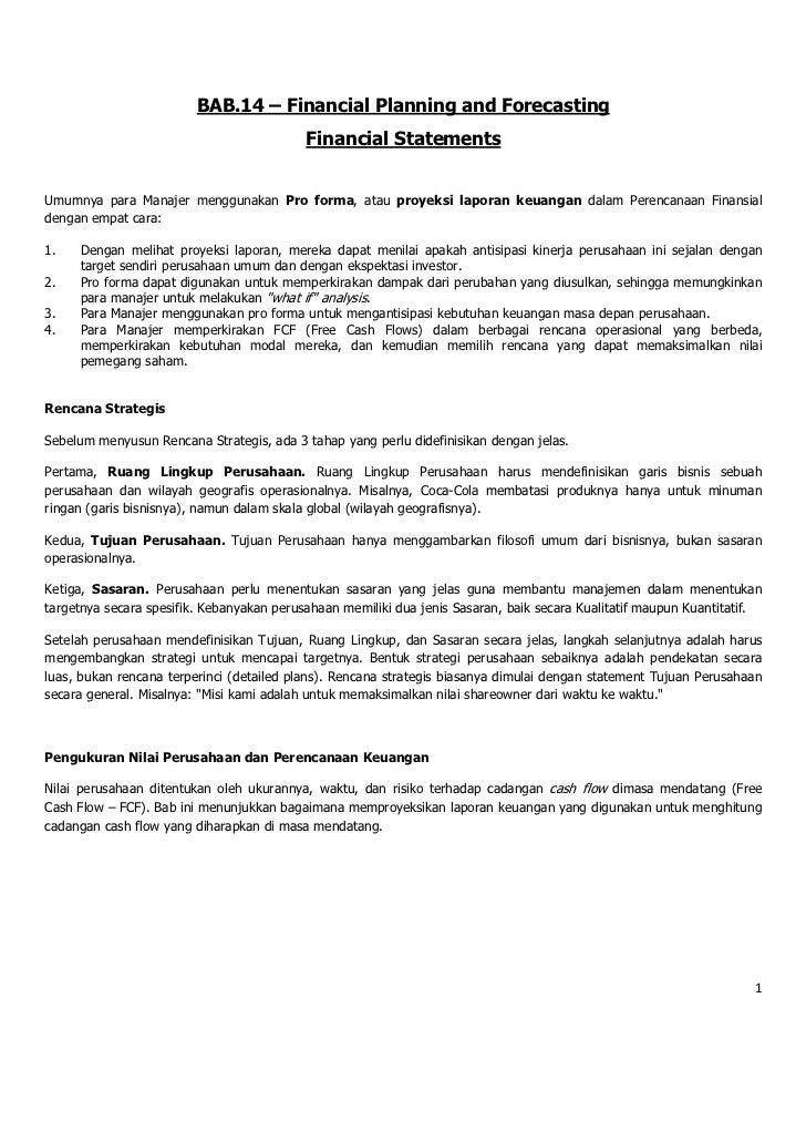 BAB.14 – Financial Planning and Forecasting                                           Financial StatementsUmumnya para Man...