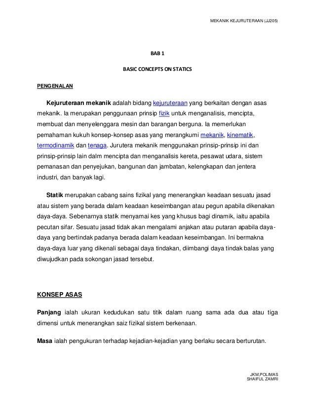 MEKANIK KEJURUTERAAN (JJ205)                                        BAB 1                              BASIC CONCEPTS ON S...