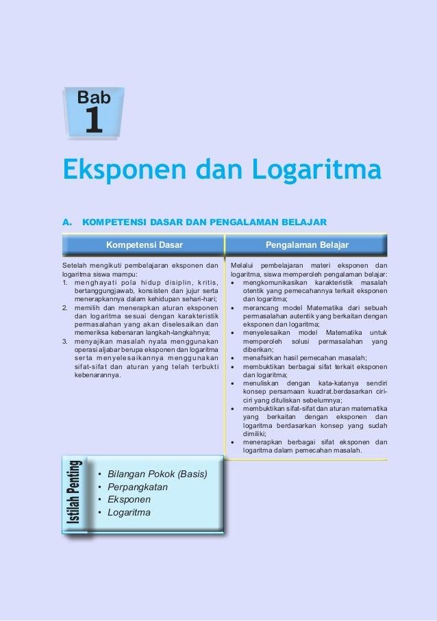 Bab  Eksponen dan Logaritma A. KOMPETENSI DASAR DAN PENGALAMAN BELAJAR Kompetensi Dasar Setelah mengikuti pembelajaran ek...
