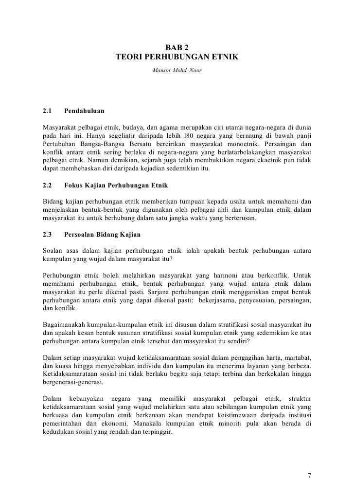 BAB 2                         TEORI PERHUBUNGAN ETNIK                                      Mansor Mohd. Noor     2.1    Pe...