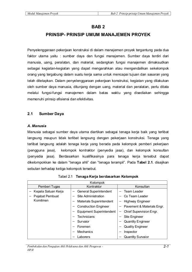 Modul Manajemen Proyek                                          Bab 2 Prinsip-prinsip Umum Manajemen Proyek               ...
