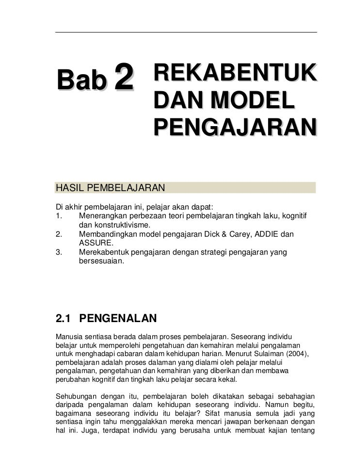 Bab2 rekabentuk & model pengajaran