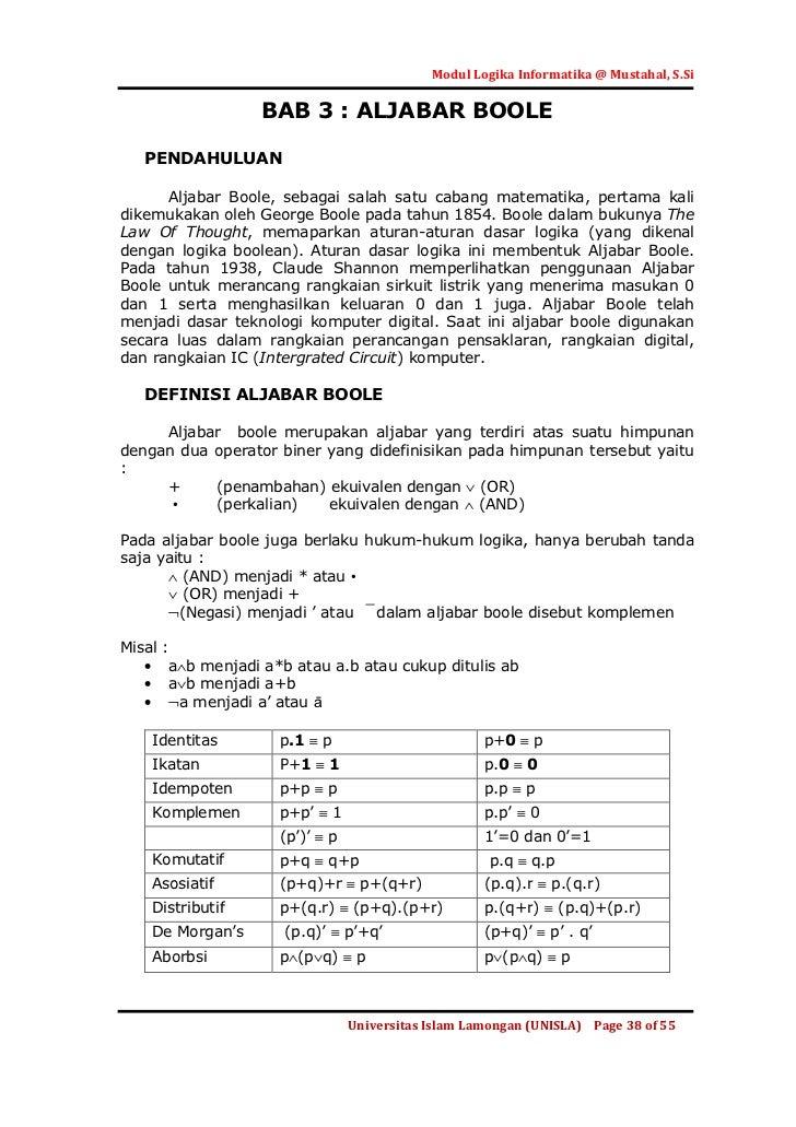 Modul Logika Informatika @ Mustahal, S.Si                     BAB 3 : ALJABAR BOOLE   PENDAHULUAN      Aljabar Boole, seba...