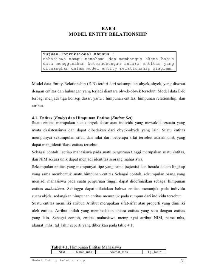 BAB 4                      MODEL ENTITY RELATIONSHIP       Tujuan Intruksional Khusus :       Mahasiswa mampu memahami dan...