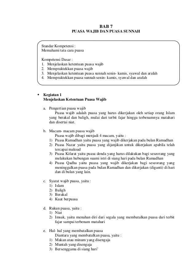 Bab  7 Puasa Wajib dan Puasa Sunnah