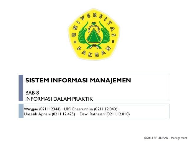 SIM Bab 8 informasi dalam praktik