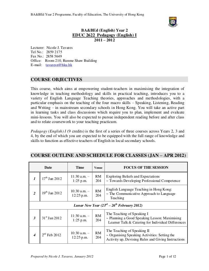 Ba b ed_pedagogy_1_course_outline_2011-12