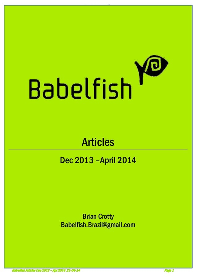 Babelfish: Articles Dec 2013 to April 2014 22-4-14