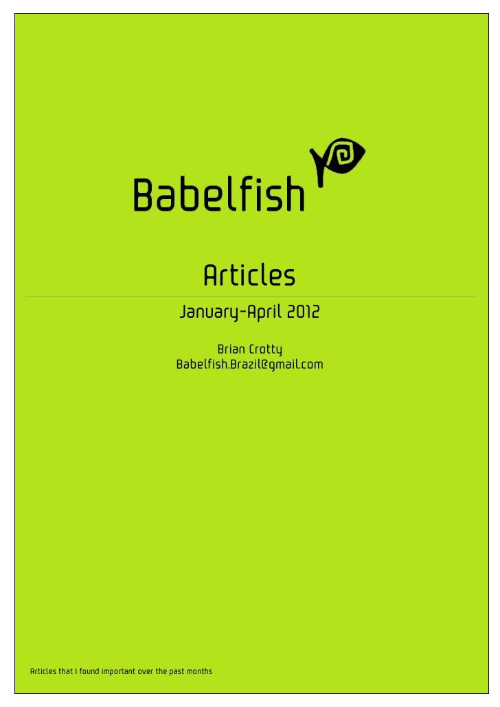 Babelfish Articles Jan-Apr 2012