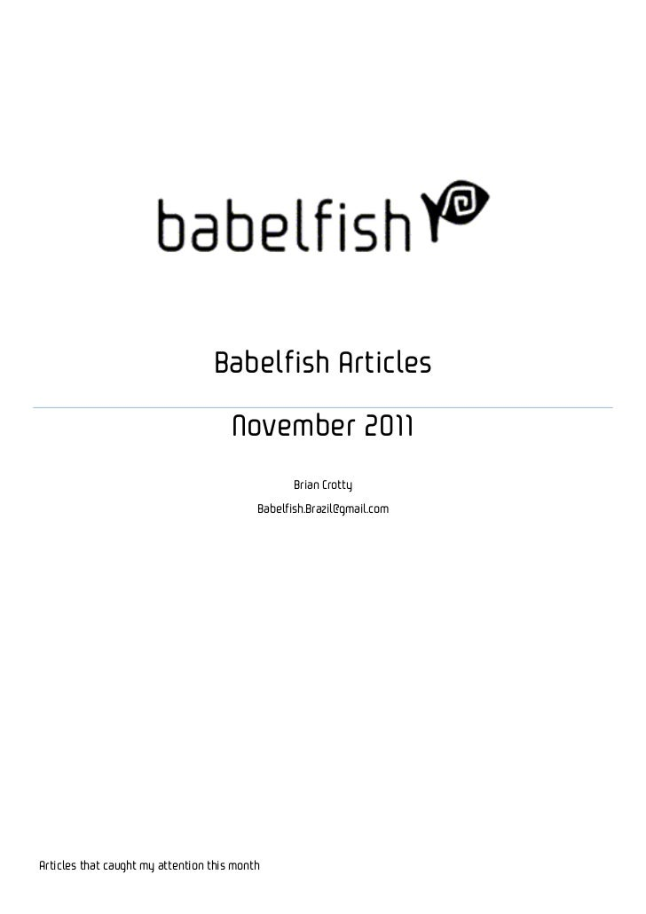 Babelfish Articles                                      November 2011                                                  Bri...