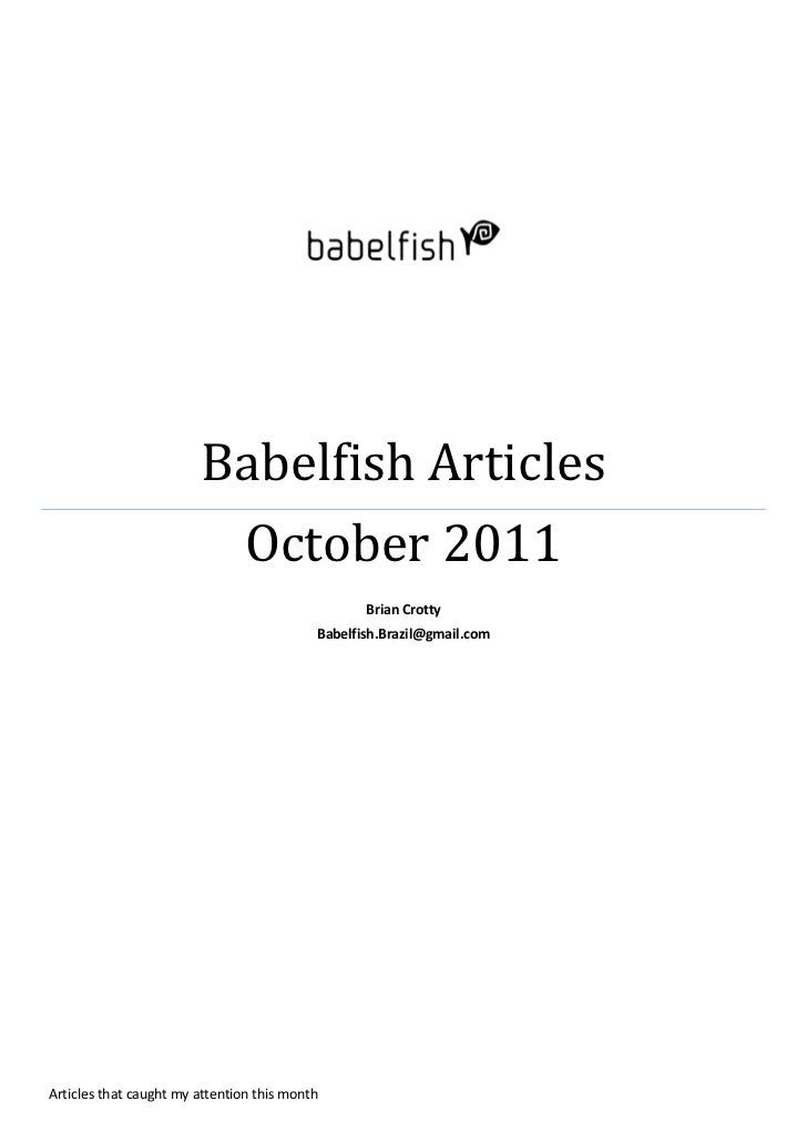 Babelfish Articles Oct 2011