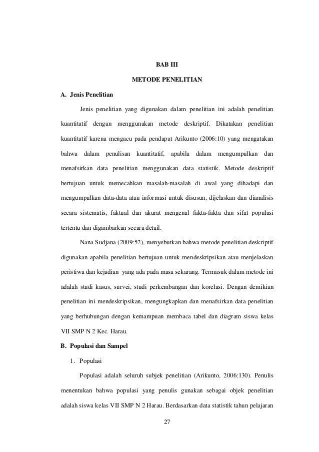 """Proposal Penelitian """"Kemampuan Membaca Tabel dan Diagram"""" Bab iii"""