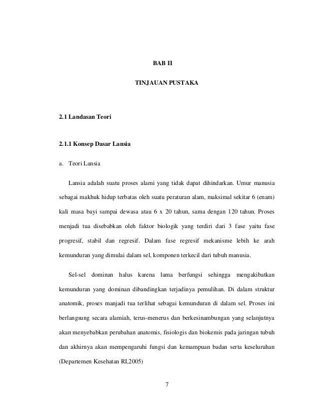 BAB II                            TINJAUAN PUSTAKA2.1 Landasan Teori2.1.1 Konsep Dasar Lansiaa. Teori Lansia   Lansia adal...