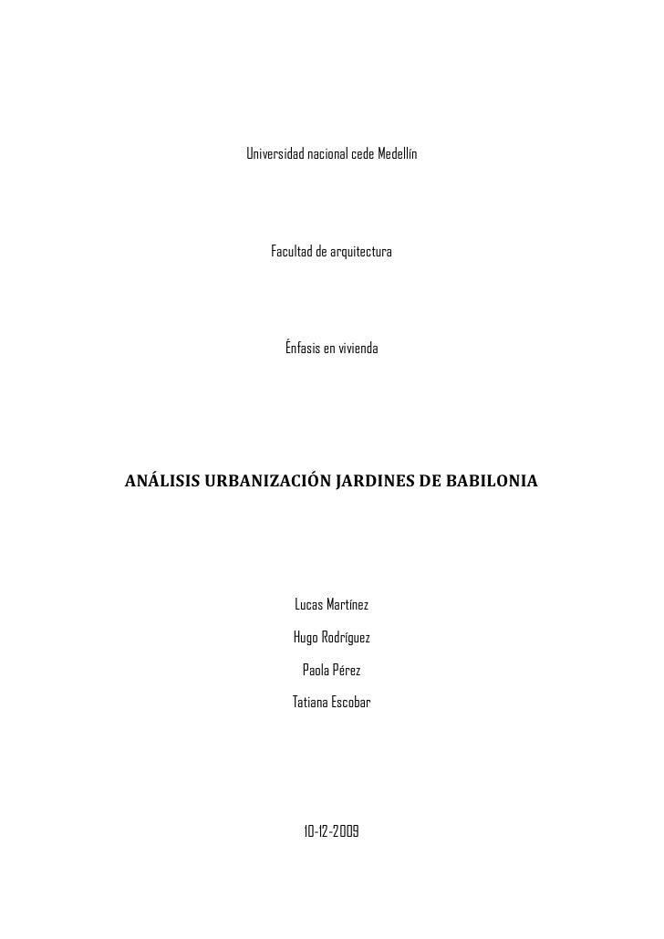 Universidad nacional cede Medellín                     Facultad de arquitectura                        Énfasis en vivienda...