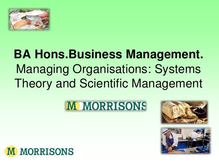 BA Hons.Business Management.Managing Organisations: Systems Theory and Scientific Management<br />