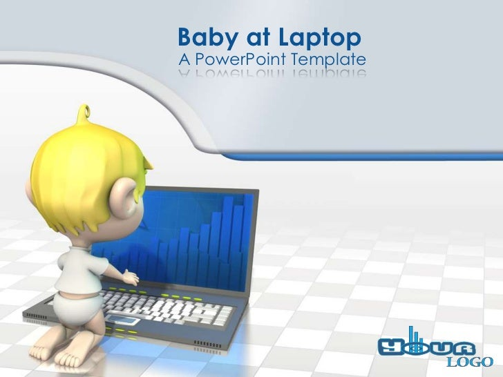 Baby at LaptopA PowerPoint Template