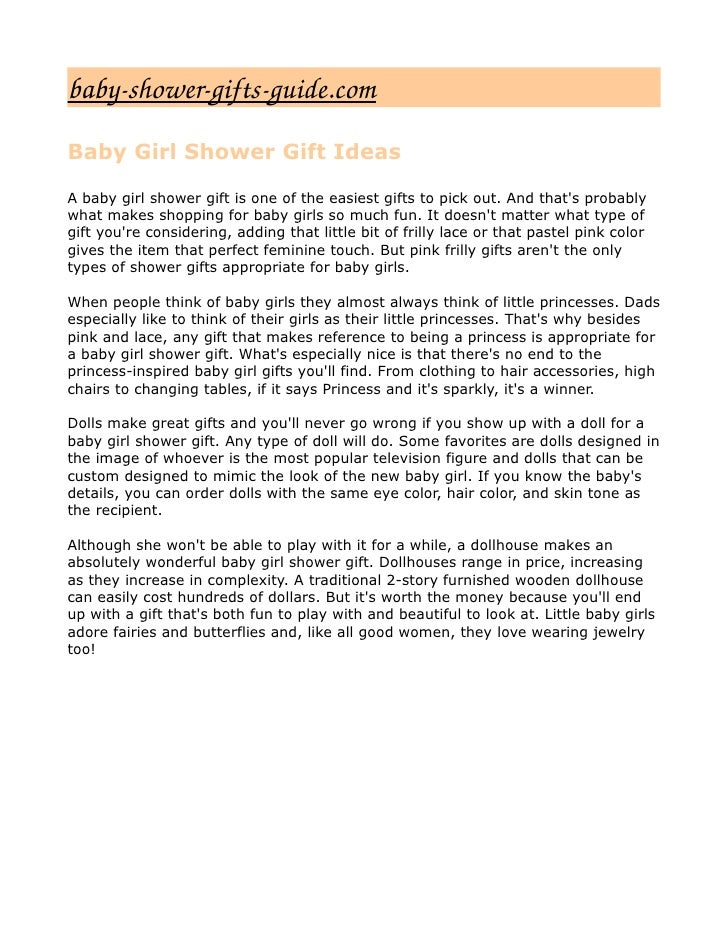 babyshowergiftsguide.com Baby Girl Shower Gift Ideas  A baby girl shower gift is one of the easiest gifts to pick out. ...