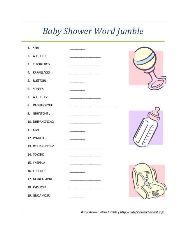 graphic about Printable Jumble identify 35 Child SHOWER Term JUMBLE PRINTABLE, Youngster JUMBLE Term