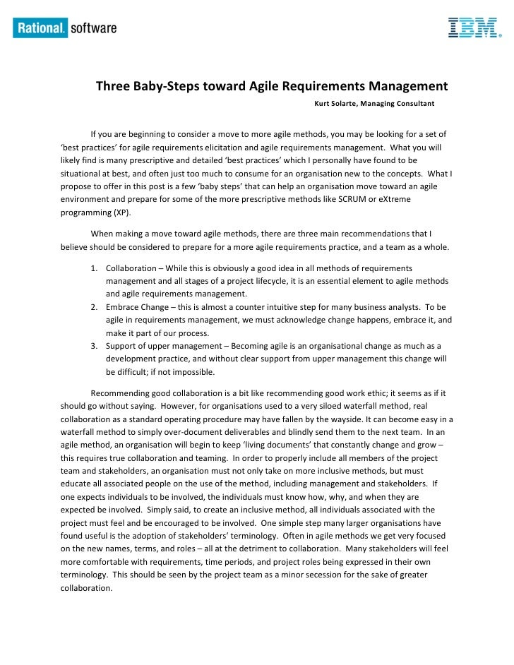 Three Baby-Steps toward Agile Requirements Management                                                                   Ku...