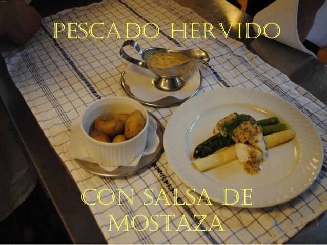 Pescado hervido con salsa de mostaza