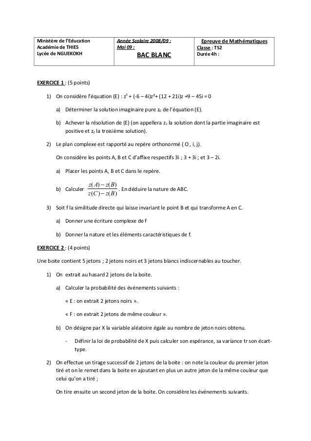 Ministère de l'Education            Année Scolaire 2008/09 :                Epreuve de MathématiquesAcadémie de THIES     ...