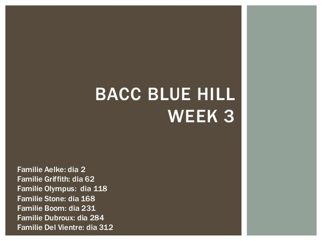 BACC BLUE HILL                             WEEK 3Familie Aelke: dia 2Familie Griffith: dia 62Familie Olympus: dia 118Famil...