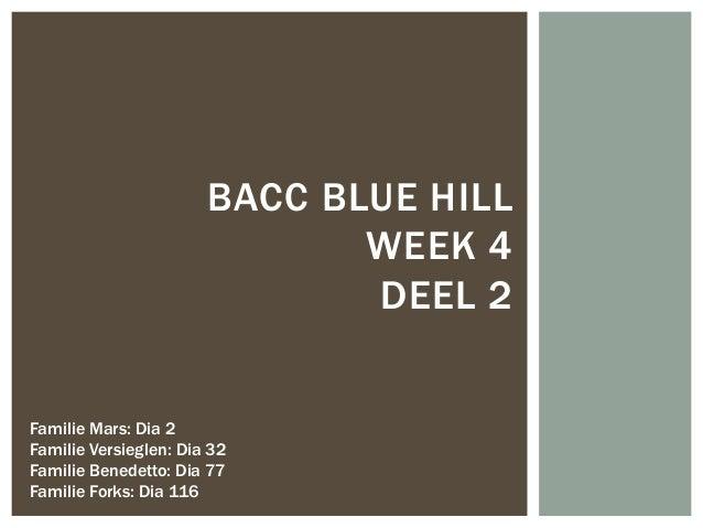 BACC BLUE HILL                              WEEK 4                              DEEL 2Familie Mars: Dia 2Familie Versiegle...