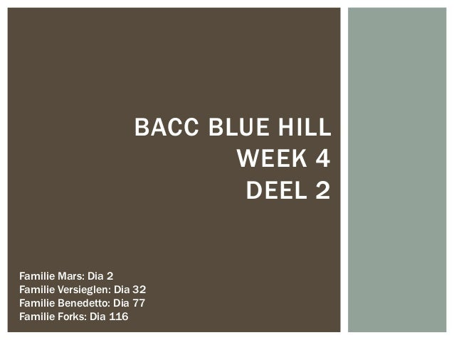 Bacc Blue Hill week 4 deel 2