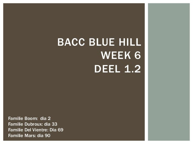 BACC BLUE HILLWEEK 6DEEL 1.2Familie Boom: dia 2Familie Dubroux: dia 33Familie Del Vientre: Dia 69Familie Mars: dia 90