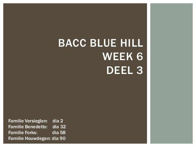BACC BLUE HILL WEEK 6 DEEL 3  Familie Versieglen: dia 2 Familie Benedetto: dia 32 Familie Forks: dia 58 Familie Houwdegen:...