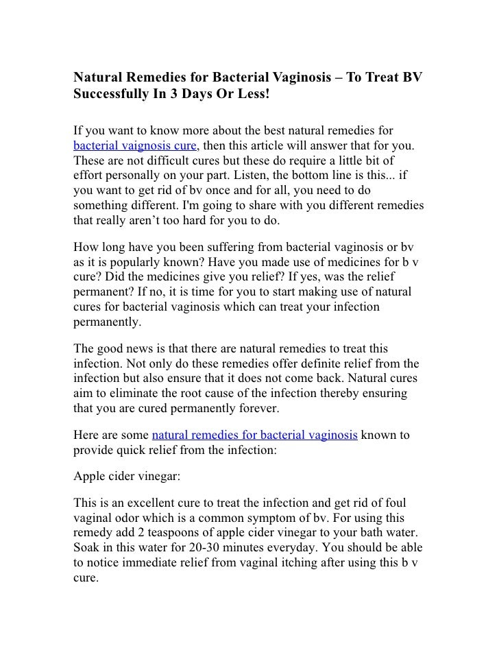 Natural Remedies for Bacterial Vaginosis – To Treat BV Successfully In 3 Days Or Less!  If you want to know more about the...
