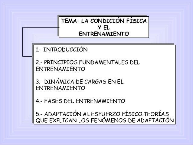 TEMA: LA CONDICIÓN FÍSICA Y EL ENTRENAMIENTO TEMA: LA CONDICIÓN FÍSICA Y EL ENTRENAMIENTO 1.- INTRODUCCIÓN 2.- PRINCIPIOS ...