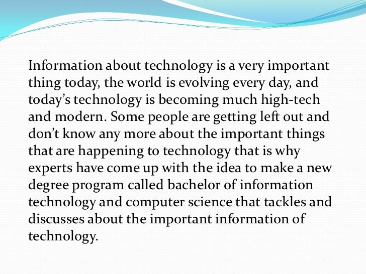 Essay on information technology