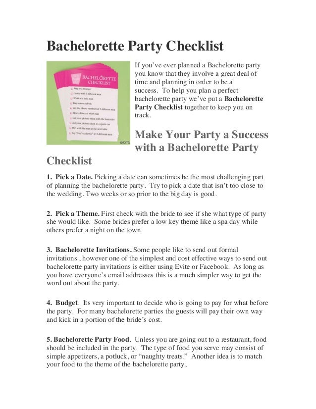 Bachelorette Party Checklist                               If you've ever planned a Bachelorette party                    ...