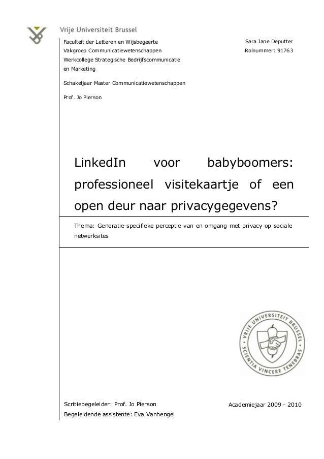 Sara Jane Deputter Rolnummer: 91763 Faculteit der Letteren en Wijsbegeerte Vakgroep Communicatiewetenschappen Werkcollege ...
