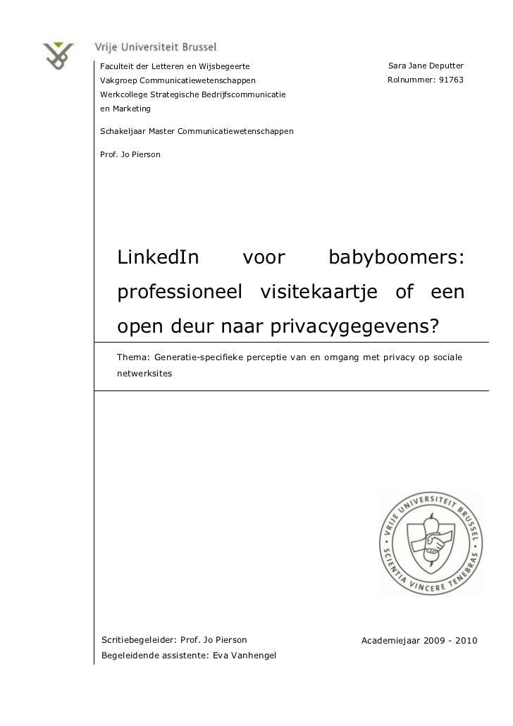 Faculteit der Letteren en Wijsbegeerte                        Sara Jane DeputterVakgroep Communicatiewetenschappen        ...