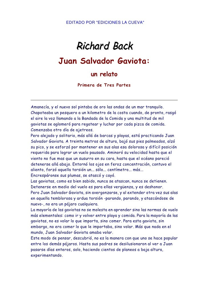"""EDITADO POR """"EDICIONES LA CUEVA""""              Juan Salvador Gaviota:                               un relato              ..."""