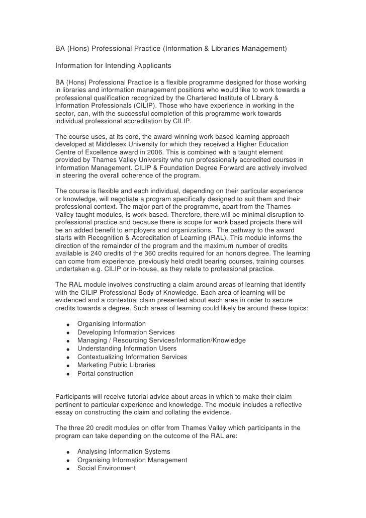 BA (Hons) Professional Practice (Information & Libraries Management)<br />Information for Intending Applicants<br />BA (Ho...