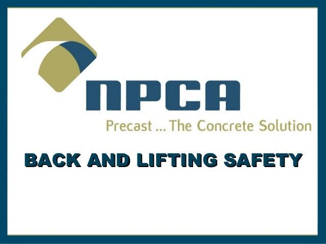 Back & Lifting Safety by NPCA