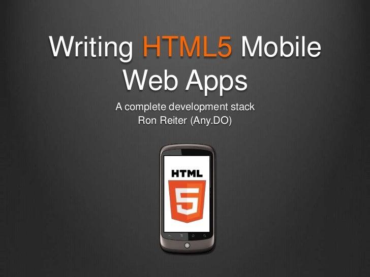 Writing HTML5 Mobile Web Apps using Backbone.js